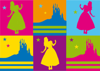 pop art,warhol,fluo,flashy,carte,invitation,princesse,château