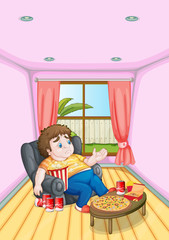 A fat young man in front of a table full of foods
