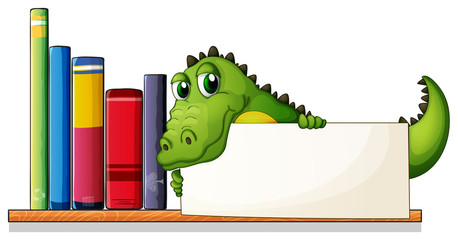 A crocodile holding an empty board above the wooden shelf with b