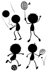 Different sport activities in its silhouette forms