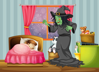 A witch looking at the girl sleeping inside the room