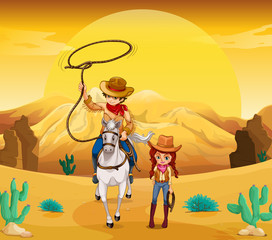 A cowboy and a cowgirl at the desert