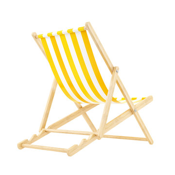 render of a yellow deck chair, isolated on white