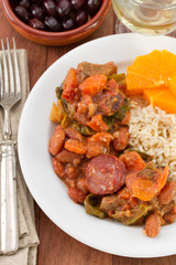 sausages with meat, beans and boiled rice
