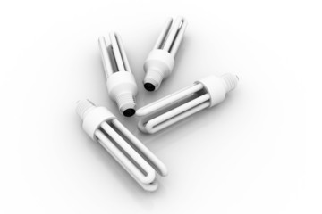 Energy saving bulbs, CFL bulbs, 3d image.