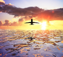 Wall Mural - airplane and sea