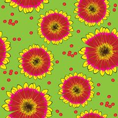 seamless yellow-red gerbera pattern
