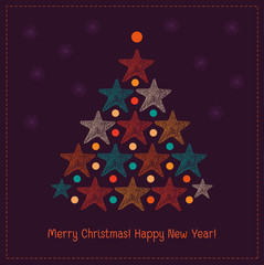 Illustration of Christmas tree with stars