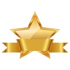 Vector illustration of gold star award with shiny ribbon