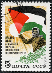 stamp printed in Russia, shows sun, man, Palestinian flag