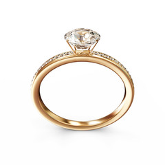 Golden Wedding Ring with Diamonds on white background
