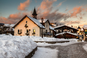 Fototapete - Village of Megeve in the Evening, French Alps, France