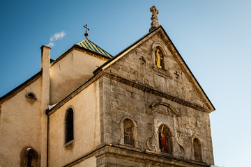 Fototapete - Medieval Church in the Center of Megeve, French Alps, France