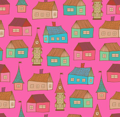 Seamless pattern with decorative houses