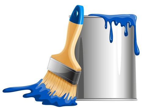 Bucket of paint and brush