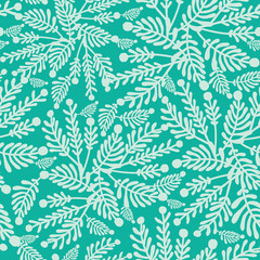 Vector Emerald green plants seamless pattern background with