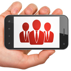 Advertising concept: Business People on smartphone