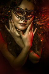 Fantasy art, woman with venetian mask, cabaret