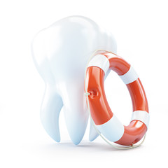 tooth help Life Buoy on a white background