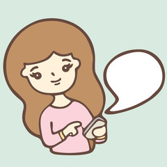Cartoon Girl Using A Smart Phone With Bubble Space For Your Text