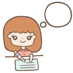 A Girl Writing With Bubble Space For Your Text