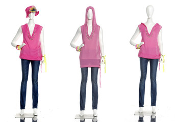 female clothing in jeans on three mannequin