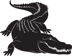 Big crocodile with terrible canines. vector image