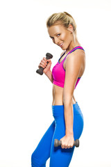 fitness woman holding a dumbell