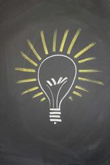 A drawing on a blackboard depicting a bright idea.