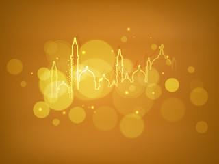 Shiny illustration of Mosque or Masjid on golden background.