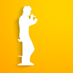 Music concept with white silhouette of a singer singing into mi