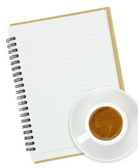 Cup of espresso coffee with a notebook isolated on white