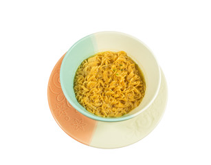 Instant noodle Isolated on white.