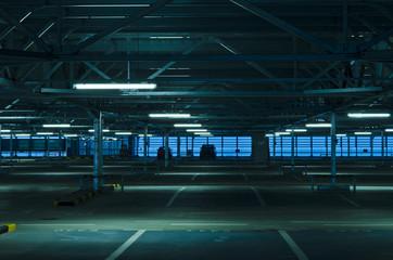 Dark parking place - garage - aboveground