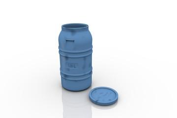 Blue plastic 120 ltr barrel