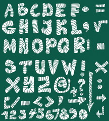 School Doodle alphabet, hand drawn font and numbers