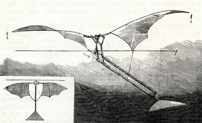 Rubber-driven ornithopter of Alphonse Pénaud (1872)