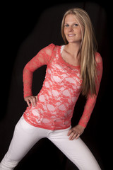 woman red lace on black back lean