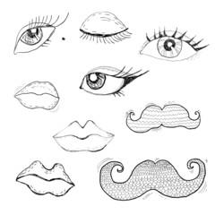 Cartoon eyes, lips and mustache