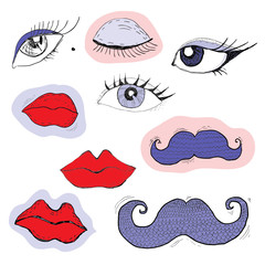 Colored cartoon eyes, lips and mustache