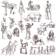 Central Africa collection - full sized hand drawings