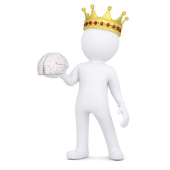 3d white man with a crown keeps the brain