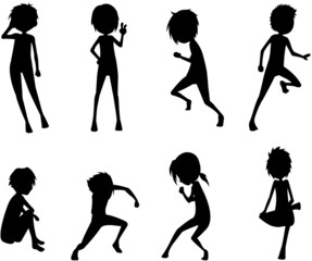 silhouette of boys in various actions