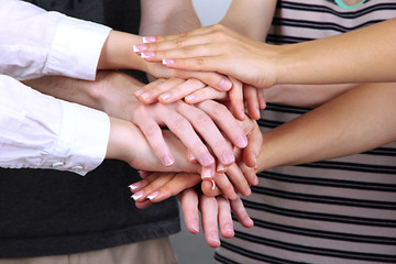 Group of young people's hands, close up