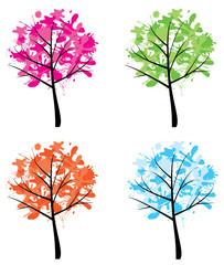 vector ink season trees