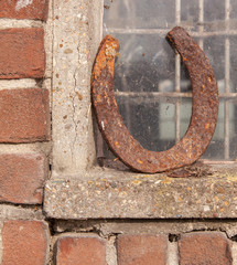 Single horseshoe in front of a window