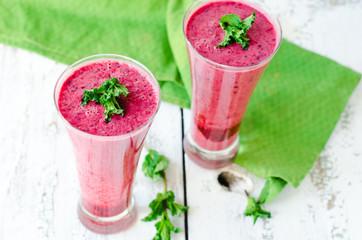 Berry milk cocktail