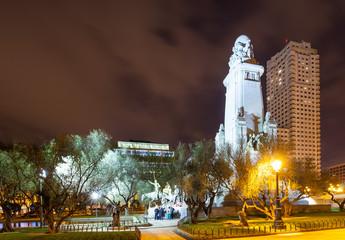 Cervantes Monument in night