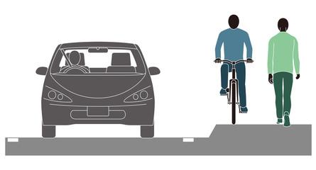 走行する自転車と自動車と歩行者