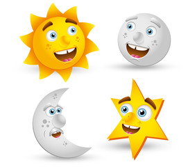 Cartoon moon star and sunn